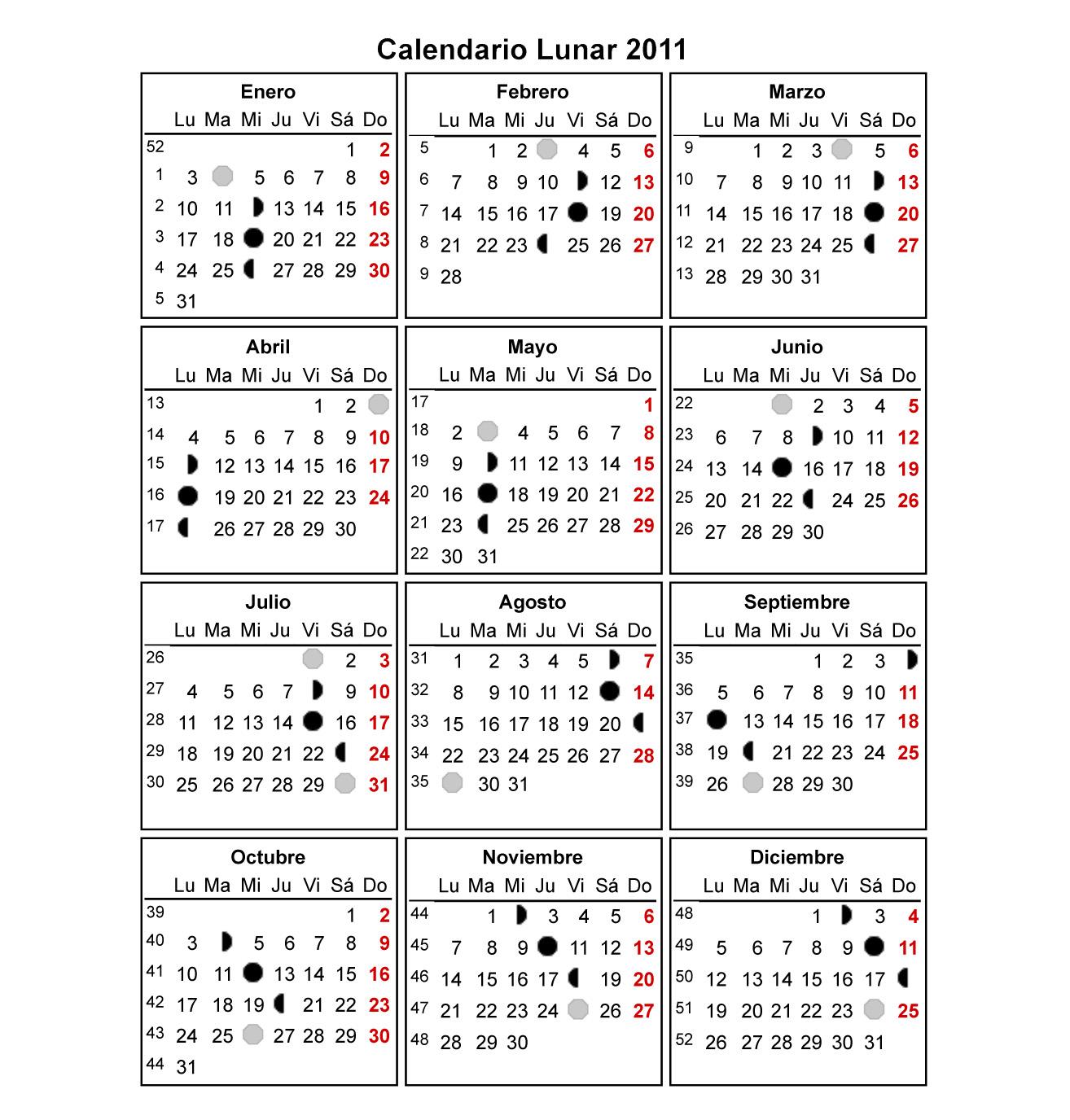 Calendario lunar para 2011 dieta de la luna los astros for Almanaque de la luna